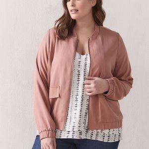 NWT Addition Elle Pink Twill Bomber Jacket Spring